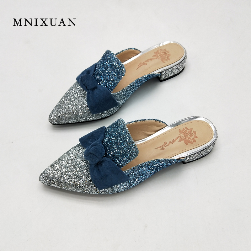 MNIXUAN women slippers sandals summer 2018 new arrival sexy pointed toe sequins butterfly-knot 3cm medium heels big size 40 41 mnixuan women slippers sandals summer