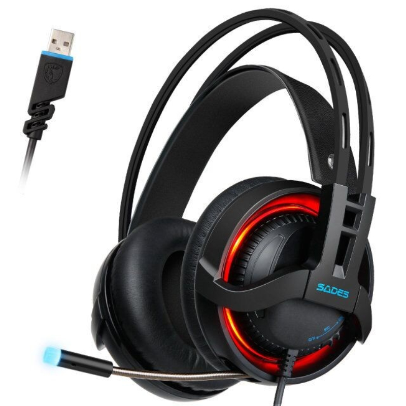 SADES R2 Gaming Headset Virtual 7.1 Channel Surround Sound Computer Headphones USB Breathing LED lights With Mic sades r1 virtual 7 1 surround sound gaming headset over ear usb computer headphones with vibrating bass and led light