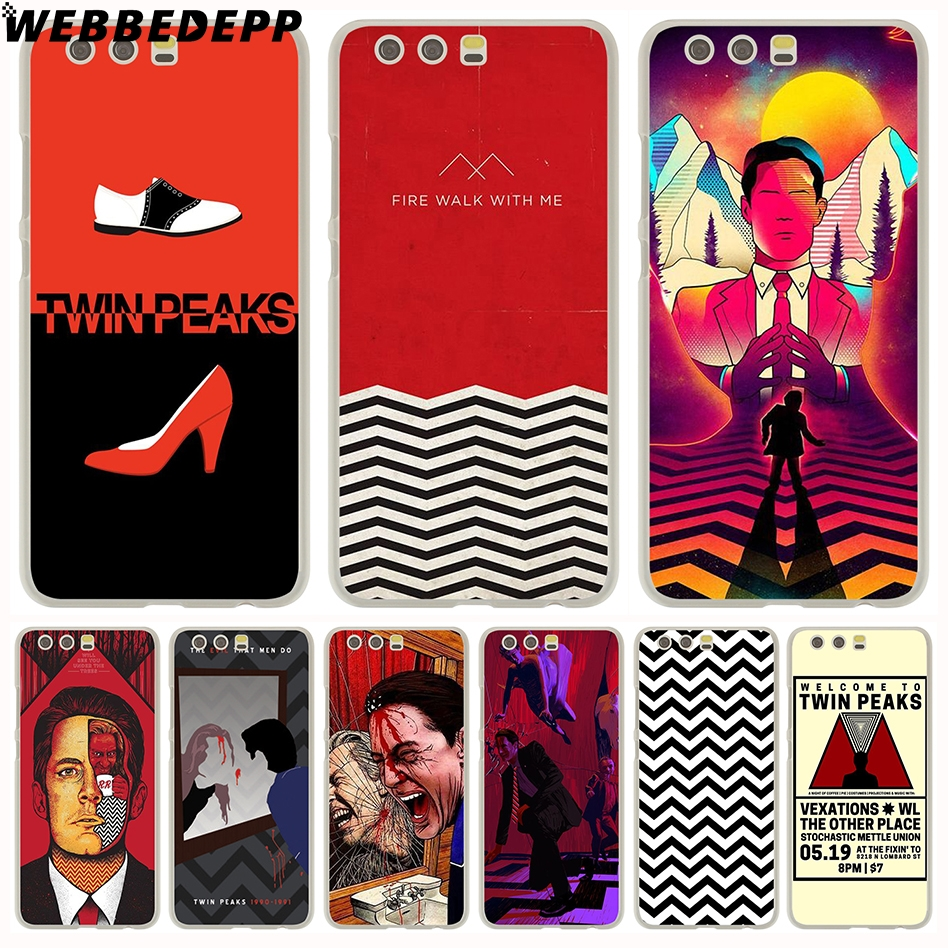 WEBBEDEPP Red WELCOME TO TWIN PEAKS Hard Case for Huawei P20 Pro smart P10 P9 Lite 2016/2017 P8 Lite 2015/2017