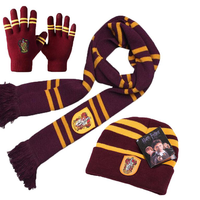 Harri Potter Gryffindor/Slytherin/Hufflepuff/Ravenclaw Scarf+Cap/Hat/Touch Glove Scarf Soft Warm Costume Christmas gift