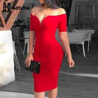 2019 mujer Sexy profundo cuello en V fuera del hombro Bodycon Vestido Mujer manga corta sólido vestido Midi Vestidos Verano