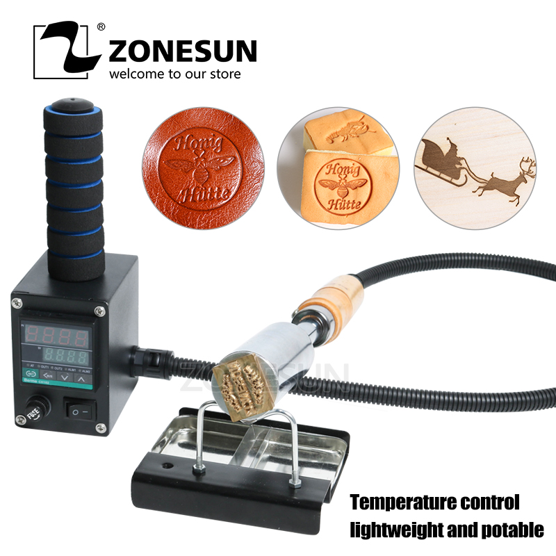 ZONESUN Embossing Machine Handheld Branding Iron For Leather Wood Wedding Cake Embossing Custom Logo Hot  Stamping Machine