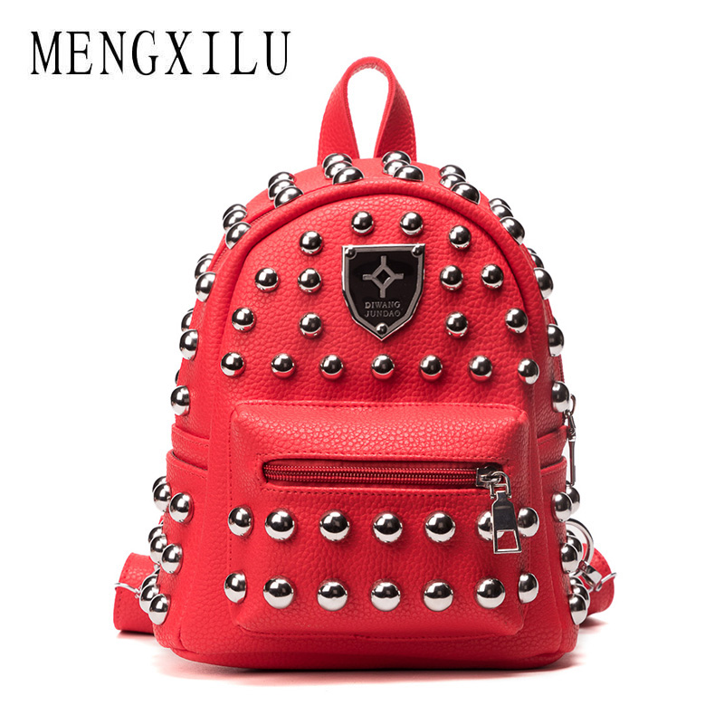 MENGXILU New Fashion Women MINI PU Leather Backpack Rivet design Women's Backpacks Casual Ladies Bags Luxury female leather bag jxsltc womens pu leather rivet backpack female backpack for adolescent girl casual small backpacks women pouch fashion lady bag