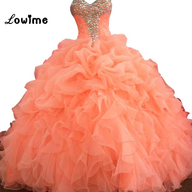 b81c5f2c57af1 Stunning Ball Gown Quinceanera Dresses Peach Pink Rhinestones Ruched Prom  Dress Women Special Occasion Gown vestidos de 15 anos