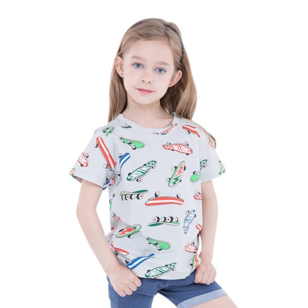Summer Children T-shirt Girl Baby Clothing Short Sleeve Skate Print T-shirt Top Cotton Casual Comfort Girl Boy T shirt