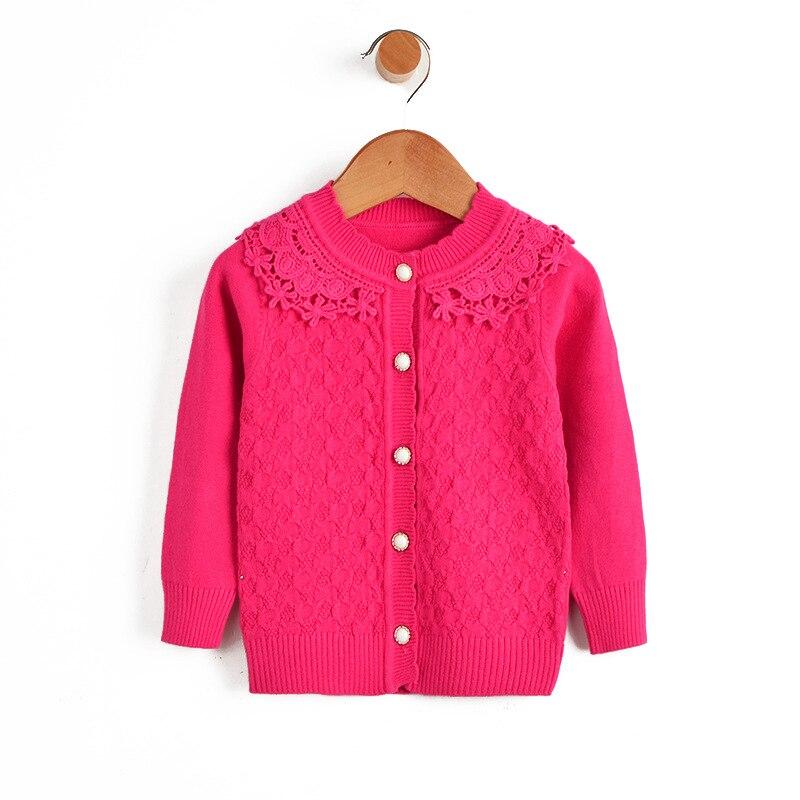 Suéteres de flores Niña Trajes de Encaje Sólido de Algodón Capa Del Niño Cardiga