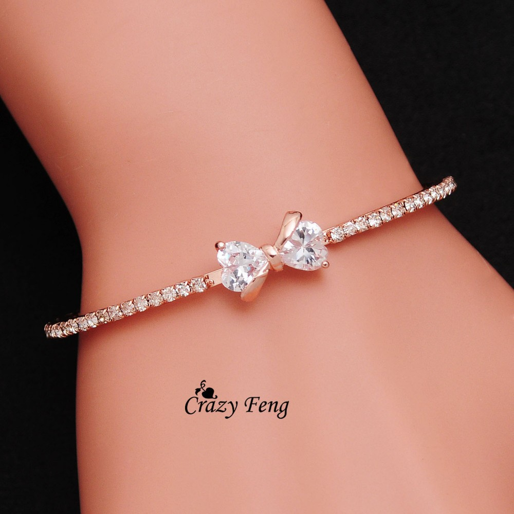 Elegant CZ Crystal Bowknot Charms Bracelets & Bangles for Women Rose Gold Color Wedding Party Bangles Jewelry pulseira feminina