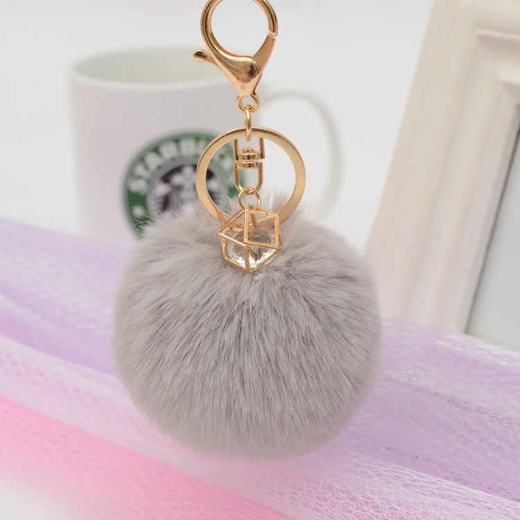 8 centímetros imitação coelho chaveiro bola de pêlo de strass incrustados senhoras cadeia chave do carro saco cadeia pingente K2233