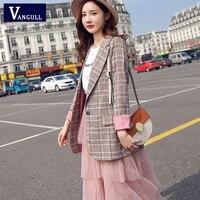 Vangull женский клетчатый блейзер с длинным рукавом, тонкое клетчатое пальто 2019, новый бренд, деловой костюм для офиса, женская верхняя одежда, ...