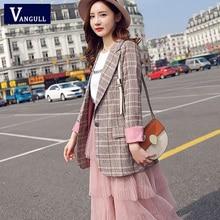 Vangull Women Plaid Blazer Long Sleeve Slim Checked Coat 201