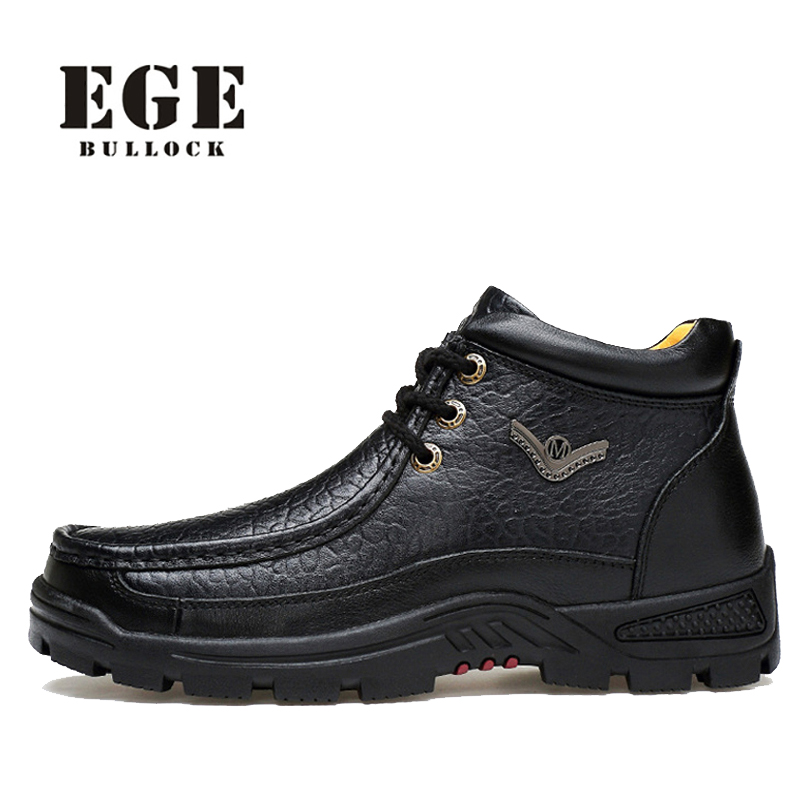 Men Winter Boots High Quality Genuine Leather Shoes EGE Brand Warm Fashion Male Shoes Plush Handmade Big Size Ankle Boots Men men winter super warm ankle boots handmade genuine leather high quality brand plush snow shoes casual russian style boots men