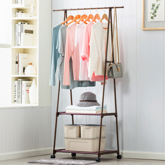 Coat Rack Nonwovens Stainless Steel Simple Assembly Can Be Removed Bedroom  Move Triangle Clothes Hanger Wardrobe