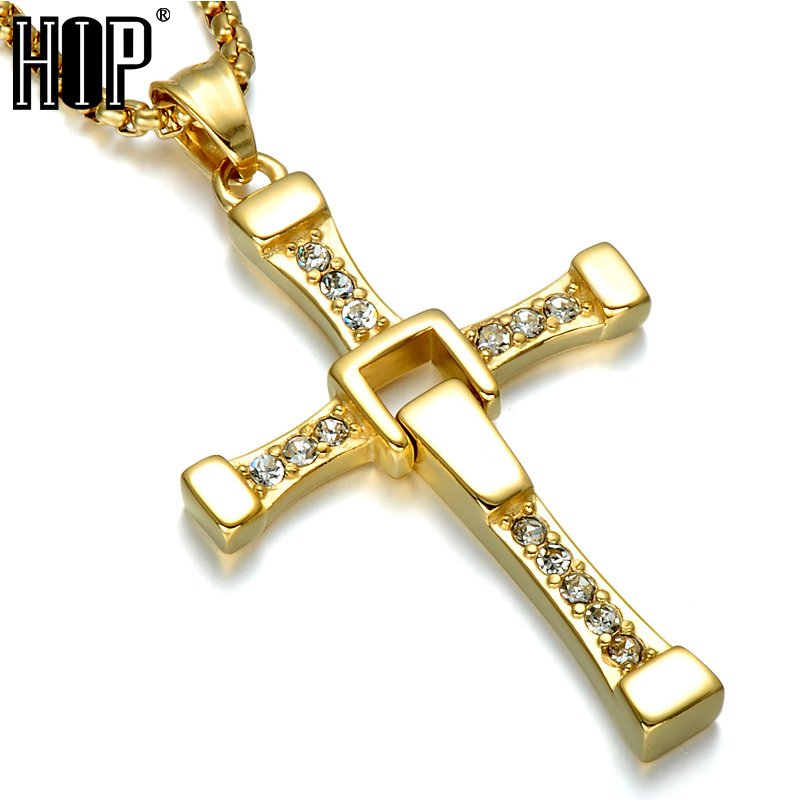 HIP The Fast & The Furious Cross Men Pendant&Necklace Punk Dominic Toretto Cross Top Stainless Steel Titanium Necklaces Jewelry 100% high quality the fast and the furious celebrity vin diesel item crystal jesus cross pendant necklace for men gift jewelry