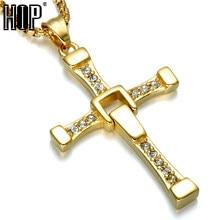 d4a0e27b4a5e Хип Форсаж крест для мужчин кулон и цепочки Ожерелья Панк Крест Доминика  Торетто Топ нержавеющая сталь титан s ювелирные изделия