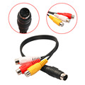Professional 4 Pin S-Video to 3 RCA Female TV Adapter Cable for Laptop with Female RCA Port and 4 Pin S-Video Port