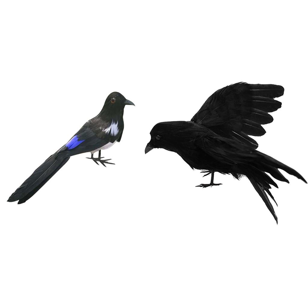 16cm Artificial Decorative Birds Realistic Raven for Home Garden Yard Decor