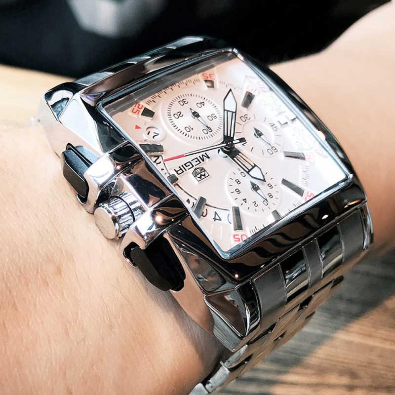 MEGIR Для мужчин большой циферблат моды Бизнес Аналоговые кварцевые наручные часы Нержавеющаясталь на спортивные часы мужской Relogio Masculino