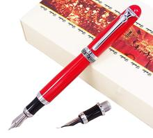 цена на Duke D2 Red Fountain Pen d2 Medium Nib with 1pc Calligraphy Fude Bent Nib Interchangeable Writing Gift Set for Painting Practice