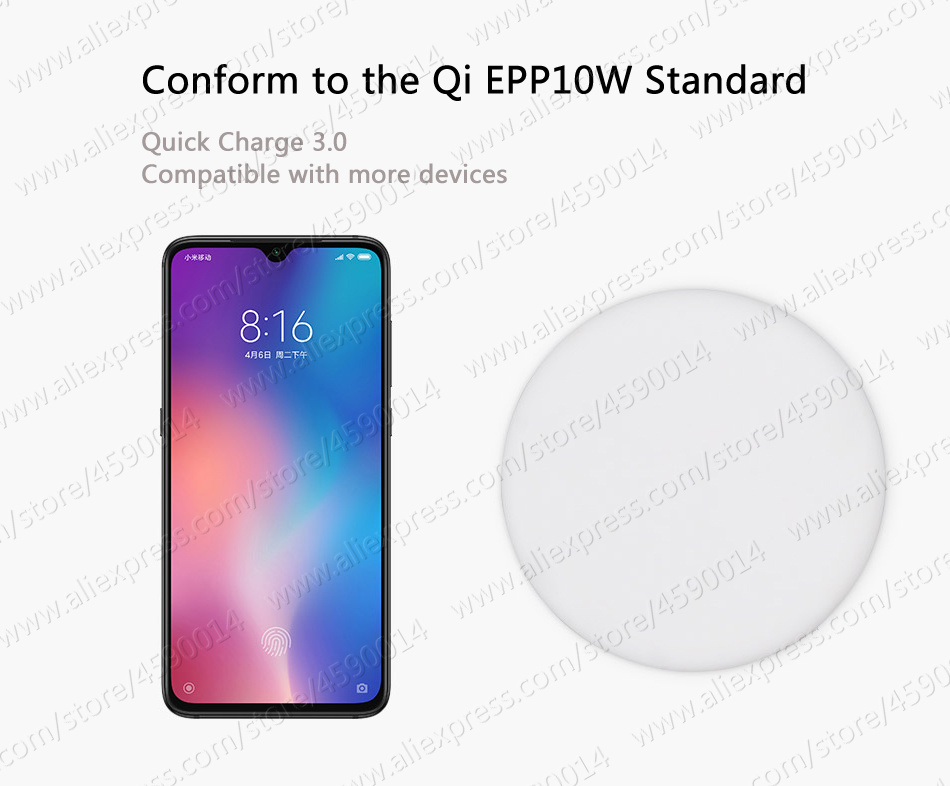 in Stock 27W Plug Original Xiaomi Wireless Charger W Max 15V For Xiaomi Mi9 Charger S10 Plus Qi EPP10W For iPhone XS Max XR 10