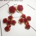 Европейский напыщенные Барокко розы крест серьги подиум участок невесты серьги 441