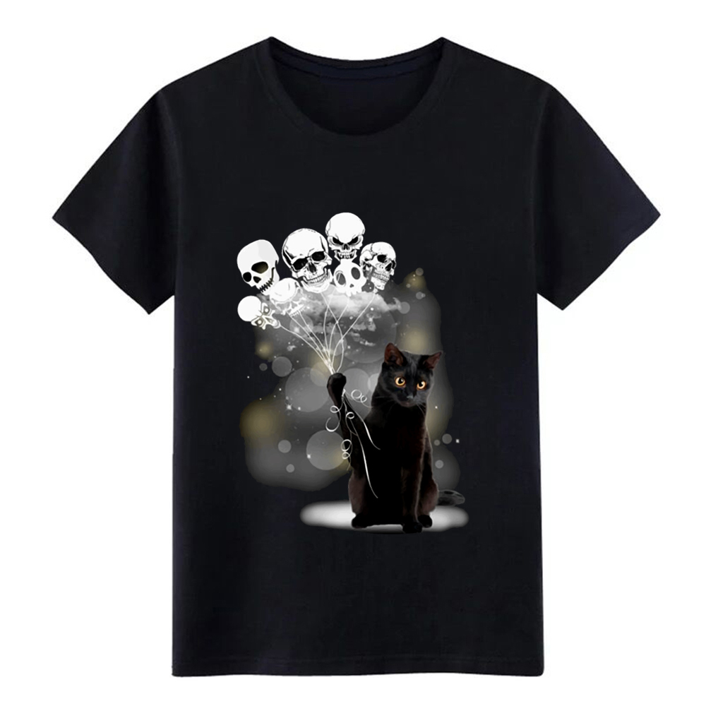 black cat skull scare raglan sleeve animals play h t shirt Designs tee size S-3xl male Sunlight New Style Natural