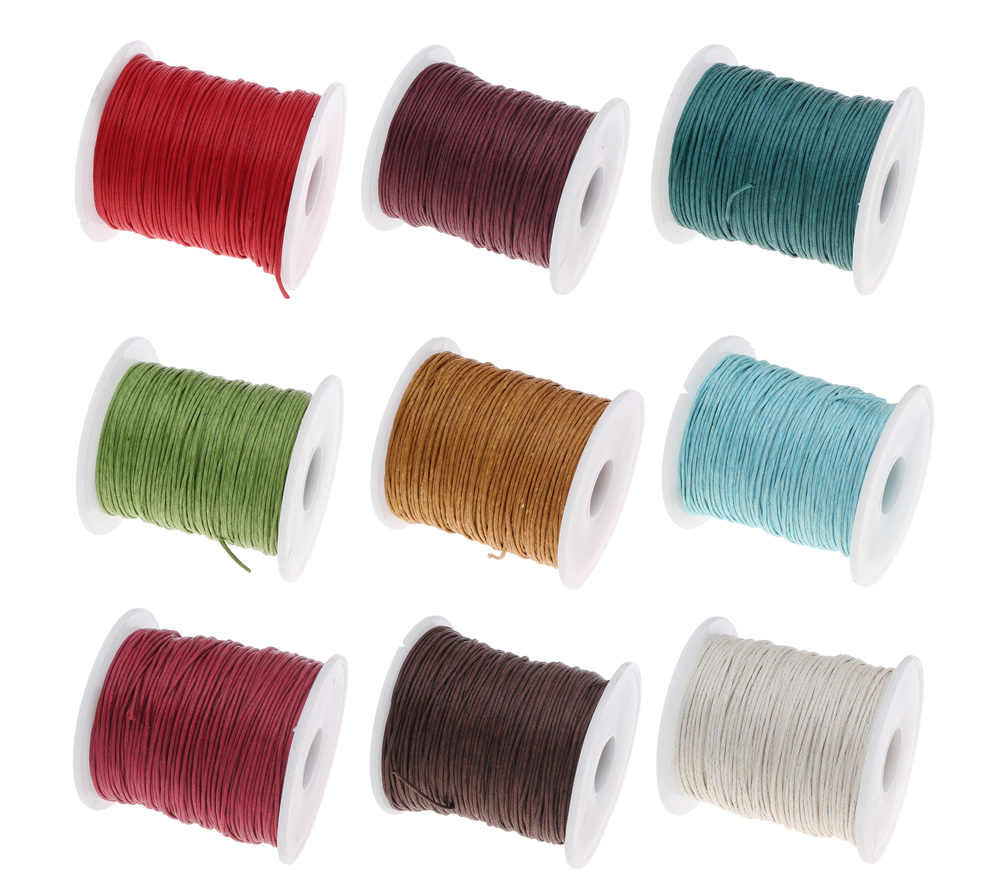 19 Color 100Yards Spool 1MM Waxed Cotton Cord Thread Cord Plastic  String Strap For DIY Rope Bead Necklace Bracelet Making