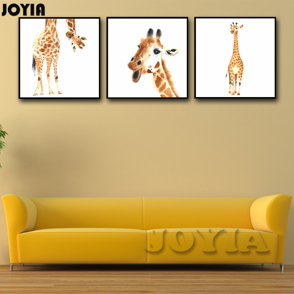 Giraffe Animal Wall Art Yellow Giraffes Canvas Poster Modern Home ...