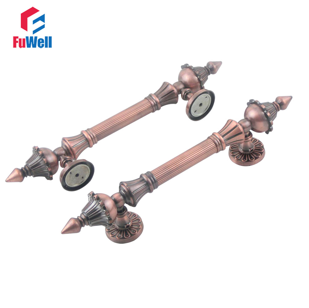2pcs Zinc Alloy Red Antique Copper Door Gate Handles Pull 244mm Hole Pitch Shopping Mall Handle furniture drawer handles wardrobe door handle and knobs cabinet kitchen hardware pull gold silver long hole spacing c c 96 224mm