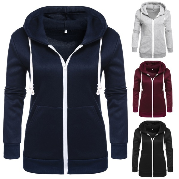 Zogaa Classic Hoodies Overcoat New Spring Autumn Zipper Hooded Sweatshirts Hoody Jacket Womens Coat Pockets Outerwear