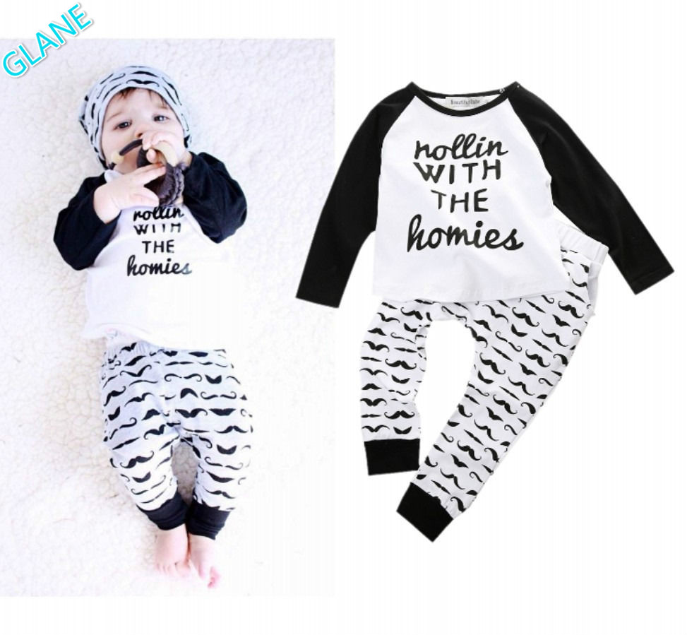 2016 2PCS Newborn Baby Boys Cute Outfits T-shirt Top + Pants Kids Clothing Sets 0~4Y Sports Suit For Baby Kids Boy Clothes