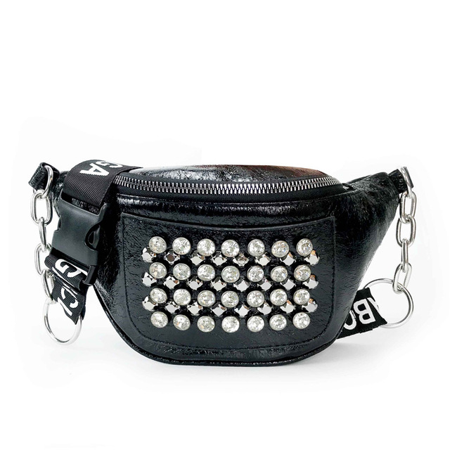 Rivets Glossy Waist Bag...