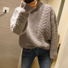 Autumn and winter thickening 100% pure cashmere sweater female half-necked knit loose pullover sweater cable knit half zip up pullover sweater