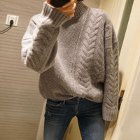 Autumn and winter thickening 100% pure cashmere sweater female half necked knit loose pullover sweater