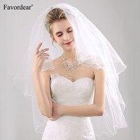 Favordear מקסים אצבע אורך הכלה עיפרון Edge חתונת הרעלה פניני שנהב חתונת רעלה 2 שכבות עם מסרק