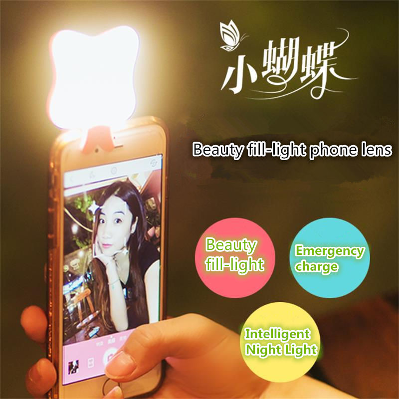 Butterfly Lights Mobile Phone Lens Self timer Camera Beauty LED Intelligent Phone Lens For iPhone 7 7plus Universal Phone Lens