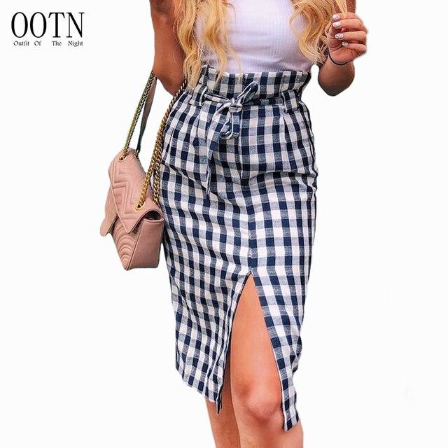 63fe24a16 OOTN Plaid Midi Slit Pencil Skirts High Waist Women Blue White Gingham Bow  Tie Long Skirts Female 2018 Summer Zipper Skirt Sexy