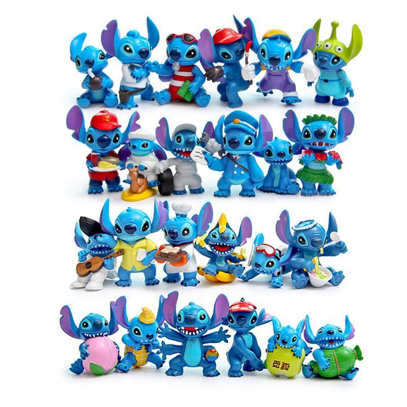 24pcs/set Lilo & Stitch Mini Action Figures Anime Cartoon Lilo & Stitch PVC Action Figure Toys Doll Collectible Model Toy Gift 1 6 scale figure doll troy greece general achilles brad pitt 12 action figures doll collectible figure plastic model toys