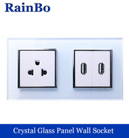 Rainbo muur us stopcontact amerikaanse standaard stopcontact usb outlet glas panel ac wall power smart outlet a28a82usw/b