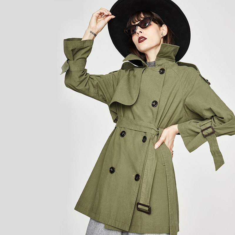 Spring Autumn New Brand   Trench   Women Double Breasted Loose Mid-Length   Trench   Coat Women's Solid   Trench