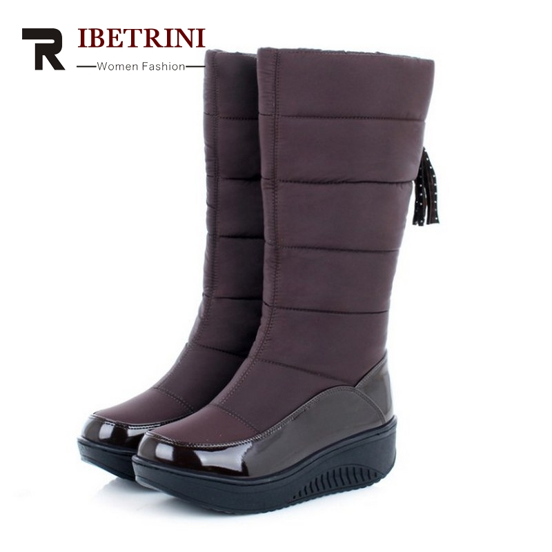 ФОТО RIBETRINI New Arrival Women Snow Boots Keep Warm Fur Shoes Thick Platform Shoes Casual Slip On Soft Autumn Winter Boots