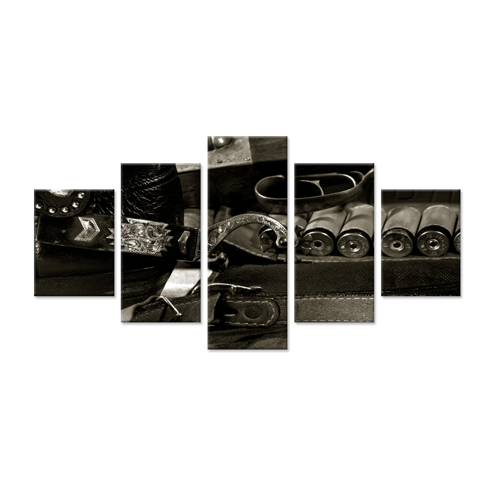 Black And White Canvas Prints Wall Art 5 Pieces American Western cowboy Still Life On The Desk Leather Steel Print On Canvas