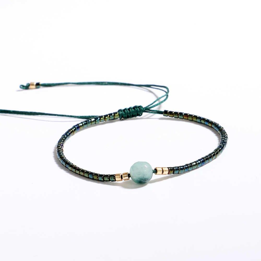 magasin officiel profiter du prix le plus bas offre spéciale Friendship Bracelets Women Colorful Handmade MIYUKI Seed Beads Natural  Stone Thin Bohemian Lace-up Bracelet Diy Jewelry 2296