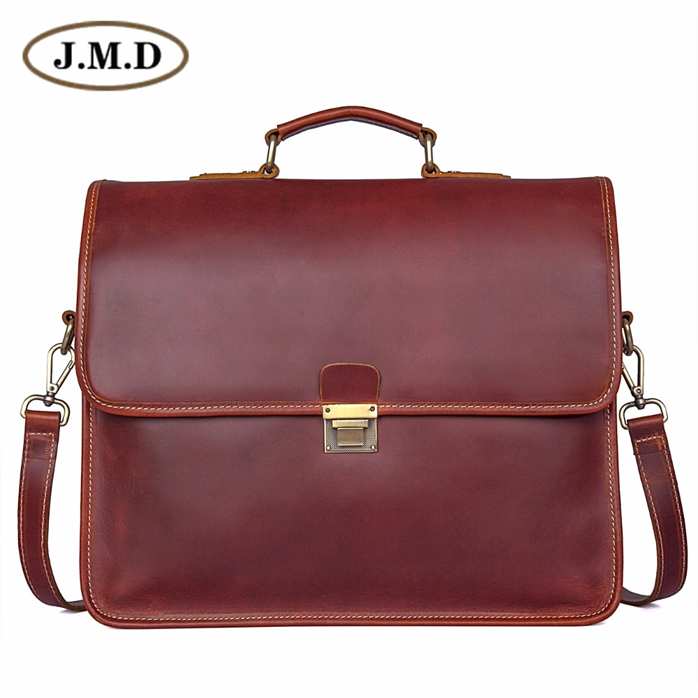 JMD Guarantee Genuine Leather Men Business Bags Men Laptop Bag 7375X guarantee genuine leather vintage style briefcase jmd business laptop bag 7085c 1