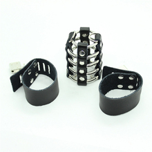 Real Leather Penis Rings Stainless Steel Cockring Clit Stimulator Cock Ring Locking Penis Ring Sex Toy Products for Couples Men