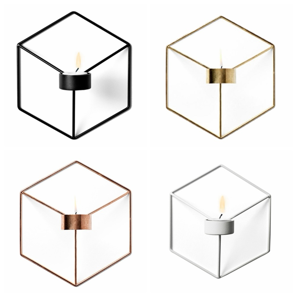Visual Touch Nordic Style 3D Geometric Candlestick Metal Wall Candle Holder Sconce Match ...