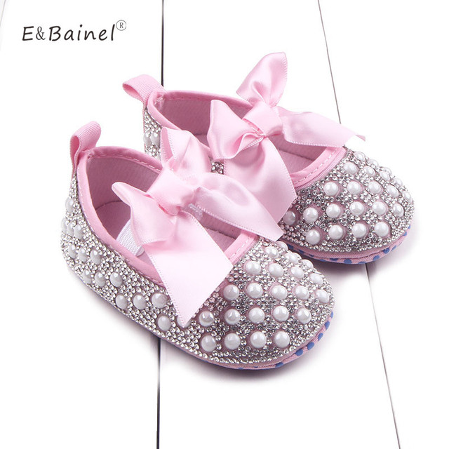6aba32dad02685 Crystal Girl Princess Shoes Handmade Bling Beads First Walker Baby Girl  Shoes