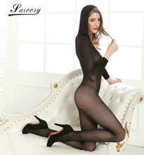See Through Cheer Black Open Crotch Hooded Socks Full Bodysuit Bodystocking for Women Stretchy Sexy Lingerie for Women