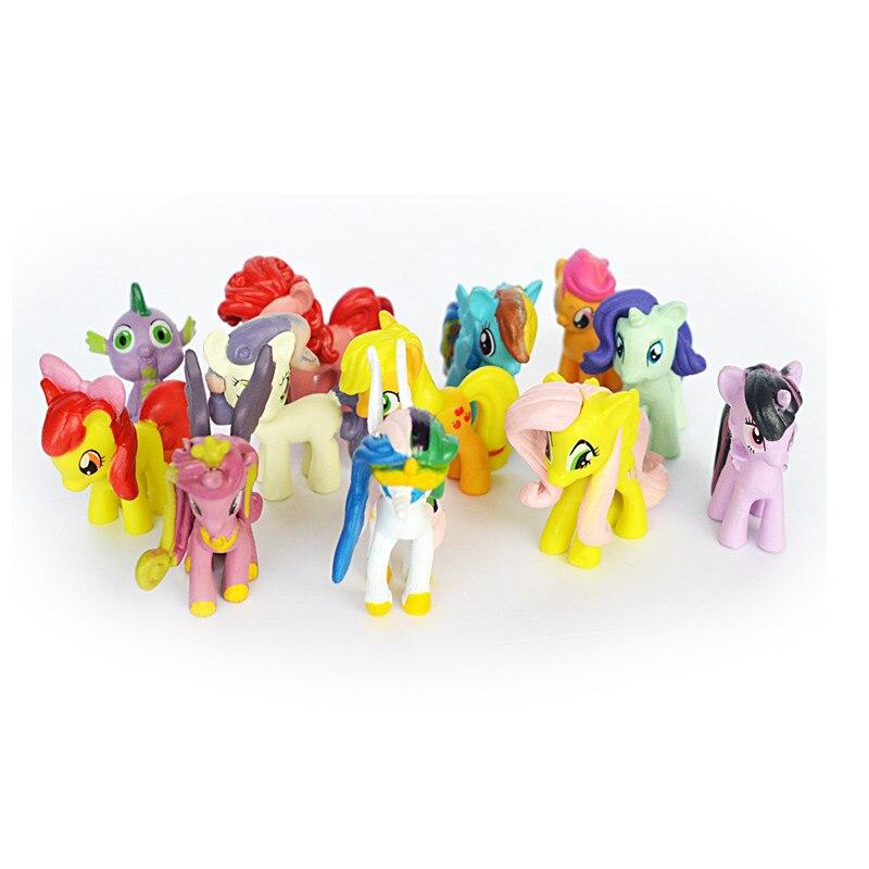 12pcs/set Plastic Horses Cute Patrolled PVC Unicorn Toys For Birthday Christmas Doll Gift Horse Toy Dolls For Children Toys pvc figure all kinds of horses 15pcs set