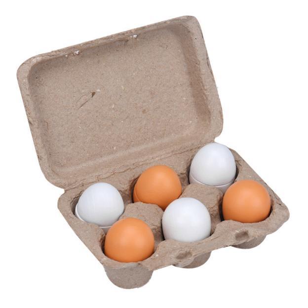 6 stks/set Houten Eieren Yolk Pretend Play Keuken Eten Koken Kid Speelgoed Xmas Geschenken