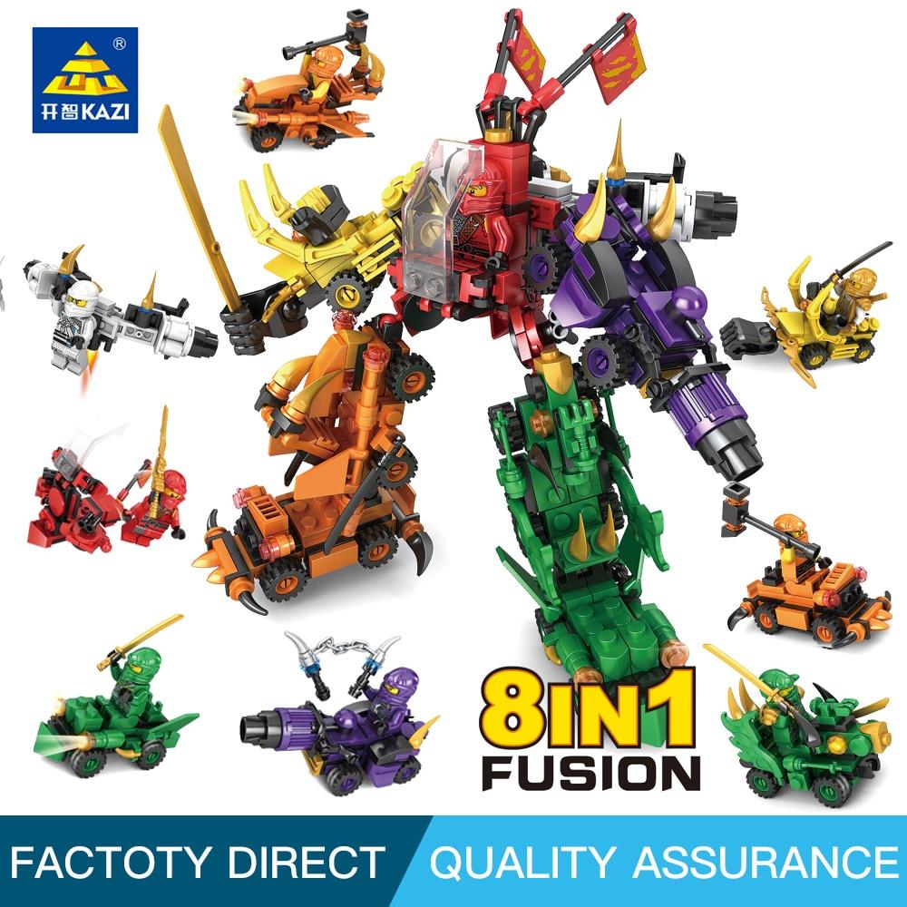 Kazi Ninjago Transform Car Robot Figures DIY Building Block 8 in 1 toys for chlidren Compatible With leg0 ninja фотообои komar world map flags 2 54х1 84 м 4 055